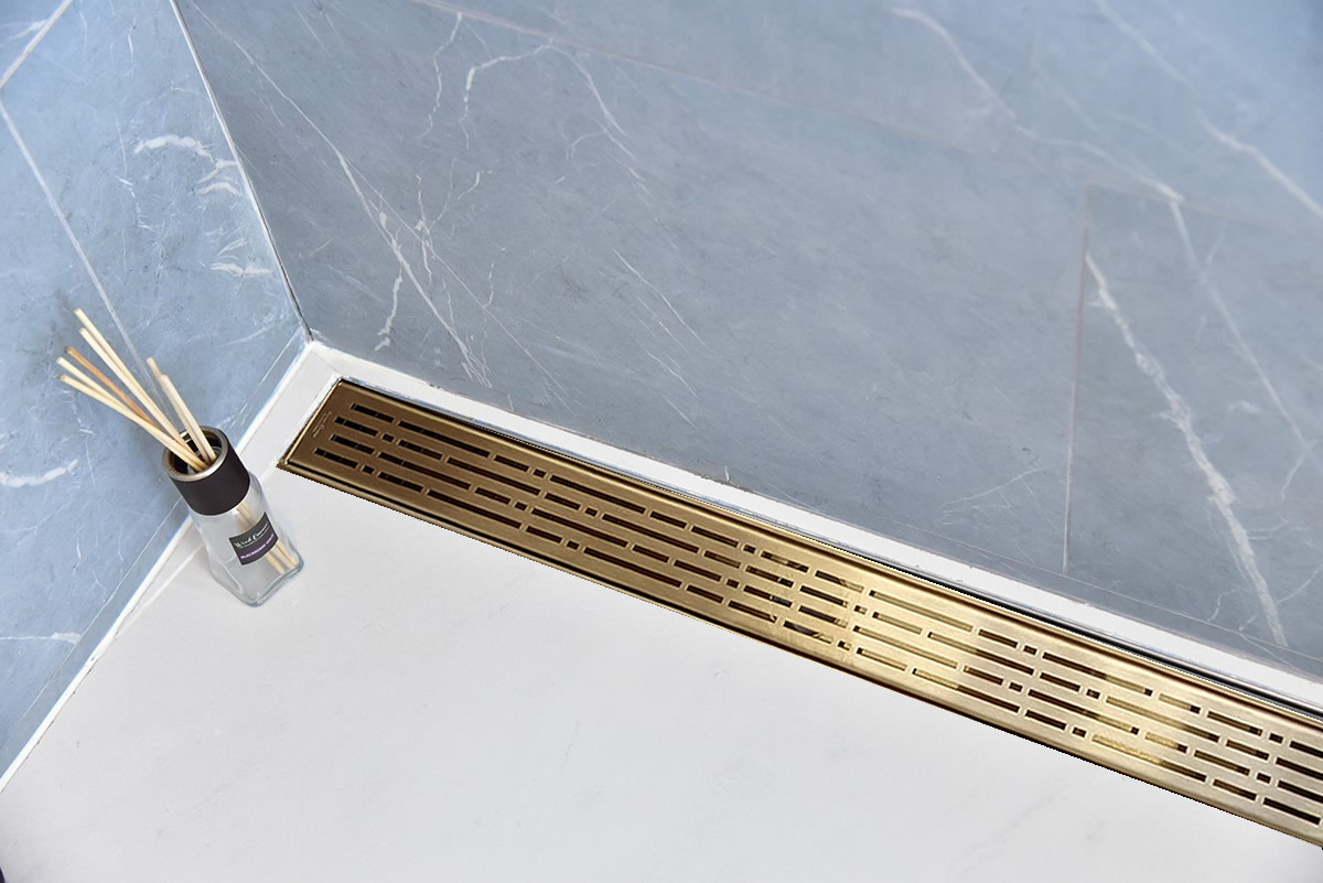 SereneDrains Broken Lane Design Linear Drains Satin Gold